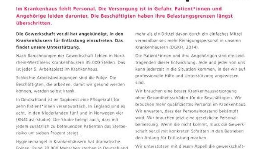 NRW-Appell für mehr Krankenhauspersonall