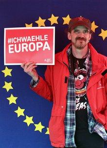 Ein ver.di Kollege mit dem Hashtag: Ich wähle Europa