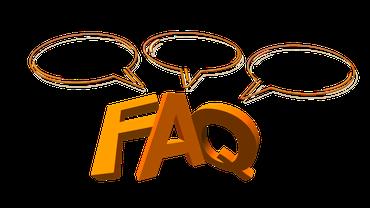 Die Buchstaben FAQ und Sprechblasen.