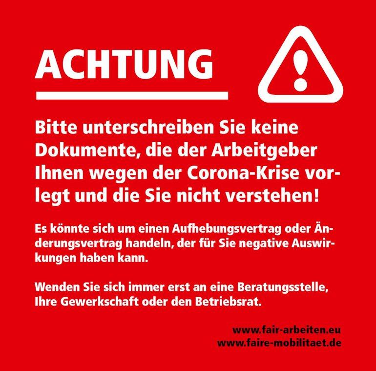 Warnung - nichts unterschreiben!