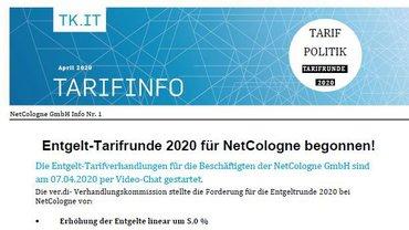 Auftaktinfo Tarifrunde NetCologne 2020 - Teaserformat