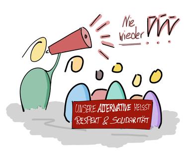 """Figur spricht mit Megaphon vor Gruppe """"Nie wieder!!!"""""""