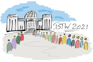 Figuren die vor dem Reichstagsgebäude in der Schlange stehen