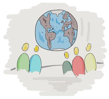 Figuren betrachten einen Globus