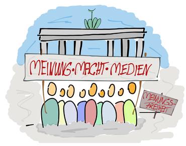 Gruppe von Figuren vor dem Brandenburger Tor