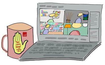 Ein Laptop auf dem eine Videokonferenz dargestellt wird