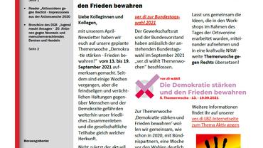Sondernewsletter im August - Aktiv gegen Rechts zur Themenwoche vor der Bundestagswahl