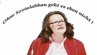 Andrea Nahles BMAS 2015 auf der 1. Mai Veranstaltung in Duisburg.Ohne Sozialabbau geht es nicht!!!!Hartz IV- Empfänger bekommen eben nicht mehr Geld von mir!